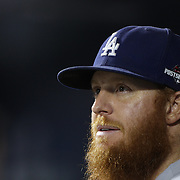 Justin Turner, Los Angeles Dodgers, in the dugout during the New York Mets Vs Los Angeles Dodgers, game four of the NL Division Series at Citi Field, Queens, New York. USA. 13th October 2015. Photo Tim Clayton
