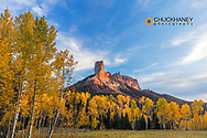 Chimney Rock and Courthouse Mountain in late autumn light in the Uncompahgre National Forest, Colorado, USA