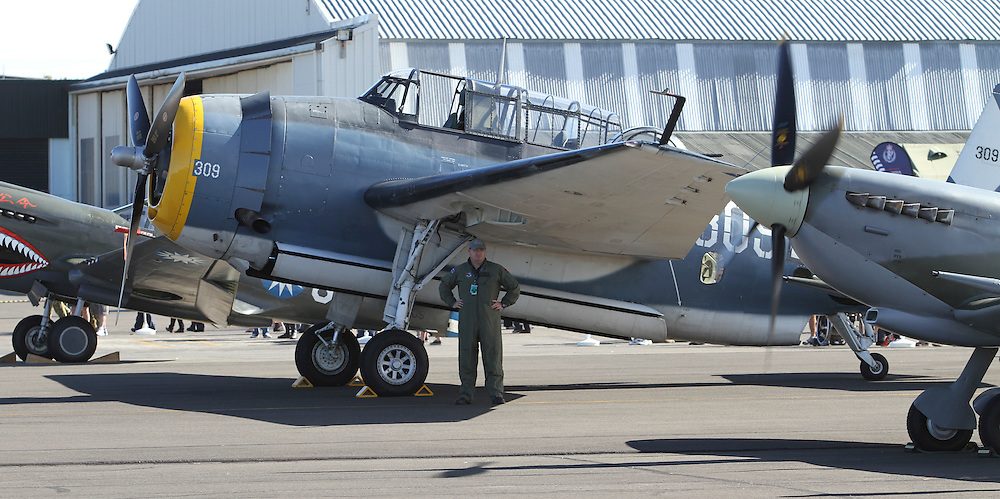 A TBM Avenger in the 75th Anniversary Airshow at Ohakea Airforce base, New Zealand, Saturday, 31 March, 2012. Credit:SNPA / John Cowpland