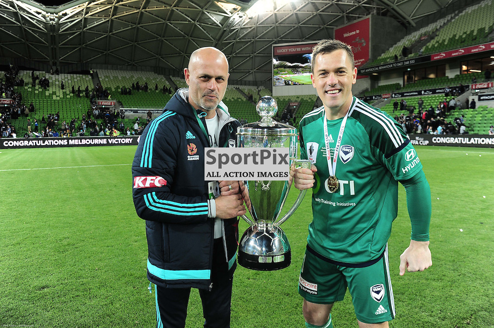 Danny Vukovic (GK) of Melbourne Victory holds the cup after Victories 2:0 win over Perth in the Westfield FFA Cup Final, 7th November 2015, Melbourne Victory FC v Perth Glory FC - © Mark Avellino | SportPix.org.uk