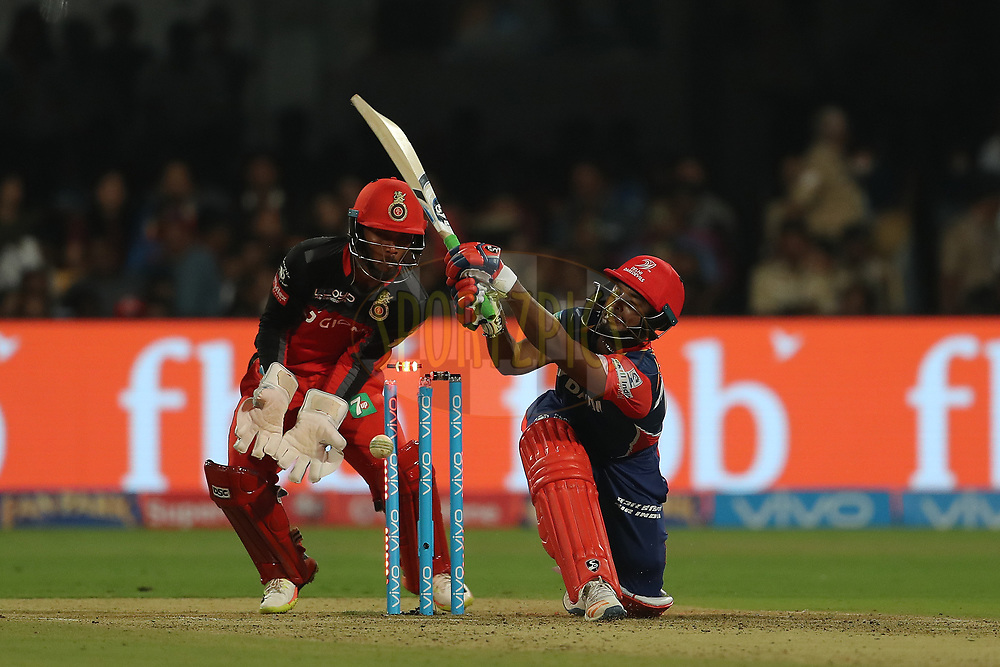 Rishabh Pant of the Delhi Daredevils has his stump removed by Pawan Negi of the Royal Challengers Bangalore during match 5 of the Vivo 2017 Indian Premier League between the Royal Challengers Bangalore and the Delhi Daredevils held at the M.Chinnaswamy Stadium in Bangalore, India on the 8th April 2017<br /> <br /> Photo by Ron Gaunt - IPL - Sportzpics