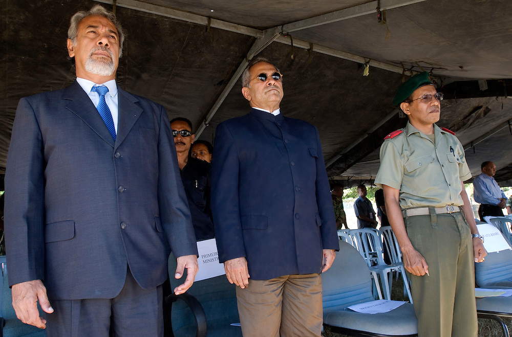 Outgoing President of Timor-Leste, Xanana Gusmao, incoming President Jose Ramos-Horta and the commander of the F-FDTL, Brigadier Taur Matan Ruak at a parade put on for Xanana Gusmao by the East Timorese Army.
