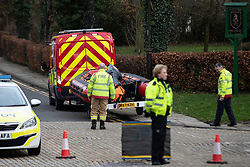 © Licensed to London News Pictures. 23/02/2020. Bollin, UK. A body recovered from the River Bollin in Prestbury is believed to be missing 56-year-old woman Angela Adams . Emergency services are searching the River Bollin . Photo credit: Joel Goodman/LNP