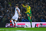 Dwight Gayle of West Bromwich Albion (16) shoots with Liam Cooper of Leeds United (6) blocking during the EFL Sky Bet Championship match between Leeds United and West Bromwich Albion at Elland Road, Leeds, England on 1 March 2019.