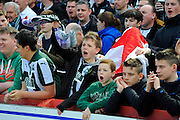 Plymouth fans during the Sky Bet League 2 match between Exeter City and Plymouth Argyle at St James' Park, Exeter, England on 2 April 2016. Photo by Graham Hunt.