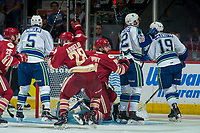 REGINA, SK - MAY 19: Samuel Asselin #28 and Liam Murphy #61 of Acadie-Bathurst Titan react to the game winning goal against Stuart Skinner #74 of Swift Current Broncos during overtime at the Brandt Centre on May 19, 2018 in Regina, Canada. (Photo by Marissa Baecker/CHL Images)