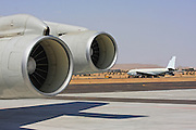 Israeli Air force Boeing 707 refuelling aircraft on the ground close up of the Jet engine .