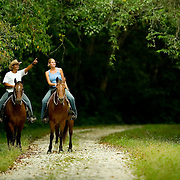 Bird watching on horseback, horseback riding in the jungles around Chan Chich Lodge, Orange Walk, Belize
