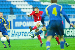 KIEV, UKRAINE - Tuesday, June 5, 2001: Wales' James Thomas in action during the Under-21 World Cup Qualifying match against Ukraine at the Dynamo Stadium. (Pic by David Rawcliffe/Propaganda)