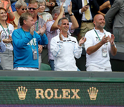 LONDON, ENGLAND - Saturday, July 2, 2011: Petra Kvitova's coach David Kotyza (R) after the Ladies' Singles Final on day twelve of the Wimbledon Lawn Tennis Championships at the All England Lawn Tennis and Croquet Club. (Pic by Propaganda)