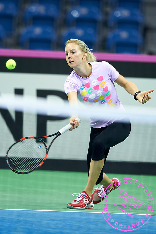 Urszula Radwanska from Poland plays during official training session two days before the Fed Cup / World Group 1st round tennis match between Poland and Russia at Krakow Arena on February 5, 2015 in Cracow, Poland<br /> Poland, Cracow, February 5, 2015<br /> <br /> Picture also available in RAW (NEF) or TIFF format on special request.<br /> <br /> For editorial use only. Any commercial or promotional use requires permission.<br /> Adam Nurkiewicz declares that he has no rights to the image of people at the photographs of his authorship.<br /> Mandatory credit:<br /> Photo by &copy; Adam Nurkiewicz / Mediasport
