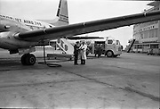 01/04/1963<br /> 04/01/1963<br /> 01 April 1963<br /> Refuelling of B.K.S. AVRO 748 prop-jet (G-ARMW) at Dublin Airport. Aircraft being refuelled in front of the terminal building by Shell BP Leyland Hippo fuel truck.