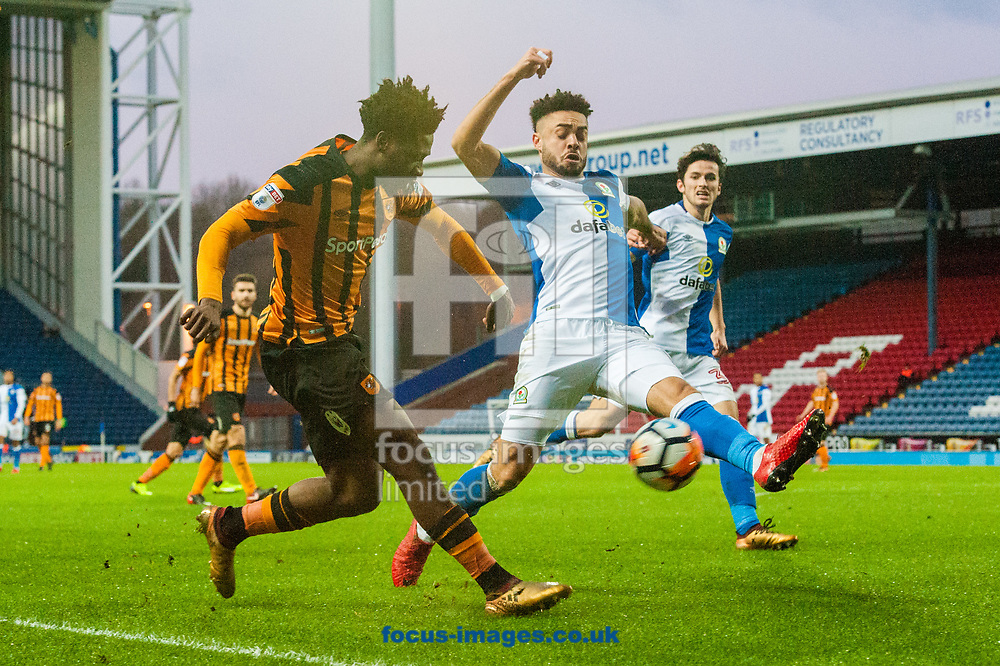 Ola Aina of Hull City gets a cross in ahead of the Blackburn Rovers defence during the FA Cup match at Ewood Park, Blackburn<br /> Picture by Matt Wilkinson/Focus Images Ltd 07814 960751<br /> 06/01/2018