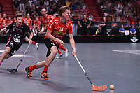2019-04-27 | Stockholm, Sweden: Storvreta (16) Victor Andersson during the game between Storvreta IBK and IBF Falun at Ericsson Globe Arena ( Photo by: Simon Holmgren | Swe Press Photo )<br /> <br /> Keywords: Ericsson Globe Arena, Stockholm, Floorball, SM-Final, Storvreta IBK, IBF Falun