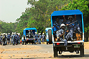 11-12-08  --  LOMÉ, TOGO  -- Police arrive at a demonstration at the University of Lomé on Thursday, December 8. Three students were reportedly shot while others were injured by tear gas canisters. Students at the university and it's satellite campus in Kara say they are upset after a 20,000 CFA ($40 USD) grant was withheld. Photo by Daniel Hayduk