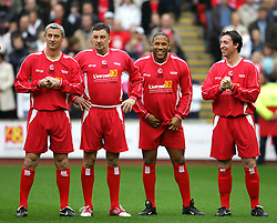 LIVERPOOL, ENGLAND - SUNDAY MARCH 27th 2005: Liverpool Legends players line-up before the Tsunami Soccer Aid match at Anfield. L-R: Ian Rush, John Aldridge, John Barnes, Robbie Fowler. (Pic by David Rawcliffe/Propaganda)