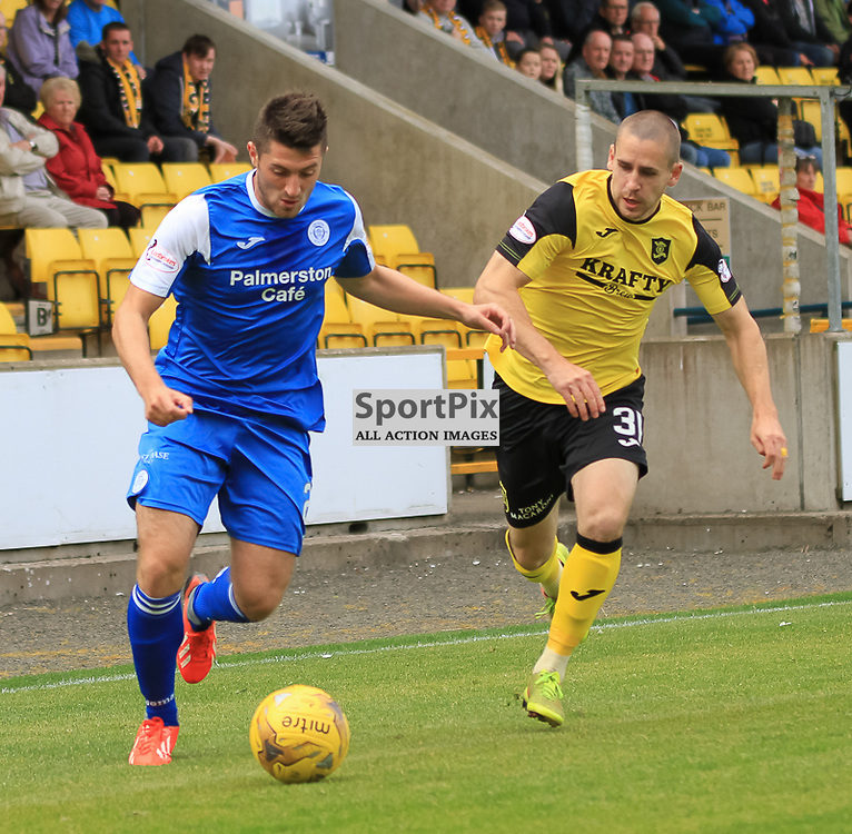 Livingston V Queen of the South Scottish Championship 15 August 2015; Queen of the South's Lewis Kidd goes past Livingston's Gary Glen during the Livingston V Queen of the South Scottish Championship match played at The Energy Assets Arena, Livingston.