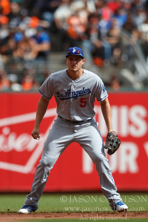 SAN FRANCISCO, CA - OCTOBER 02: Corey Seager #5 of the Los Angeles Dodgers stands on the field against the San Francisco Giants during the first inning at AT&T Park on October 2, 2016 in San Francisco, California. The San Francisco Giants defeated the Los Angeles Dodgers 7-1. (Photo by Jason O. Watson/Getty Images) *** Local Caption *** Corey Seager