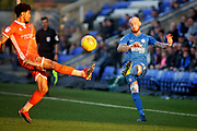 Peterborough Utd forward Marcus Maddison (21) gets in a cross during the EFL Sky Bet League 1 match between Peterborough United and Shrewsbury Town at London Road, Peterborough, England on 23 February 2019.