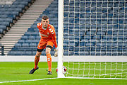 Goalkeeper Lewis Budinauckas (#1) of Rangers FC watches the ball trickle over the line for a goal to Celtic during the Scottish FA Youth Cup Final match between Celtic and Rangers at Hampden Park, Glasgow, United Kingdom on 25 April 2019.