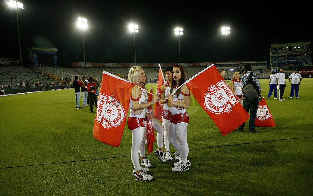 Cheer leaders at the stadium after the match 9 of the Indian Premier League ( IPL ) Season 4 between the Kings XI Punjab and the Chennai Super Kings held at the PCA stadium in Mohali, Chandigarh, India on the 13th April 2011..Photo by Money Sharma/BCCI/SPORTZPICS