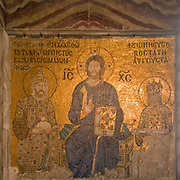 Turkey, Istanbul, Interior of the Hagia Sophia Museum religious Mosaic art. Jesus Christ enthroned 11th Century CE