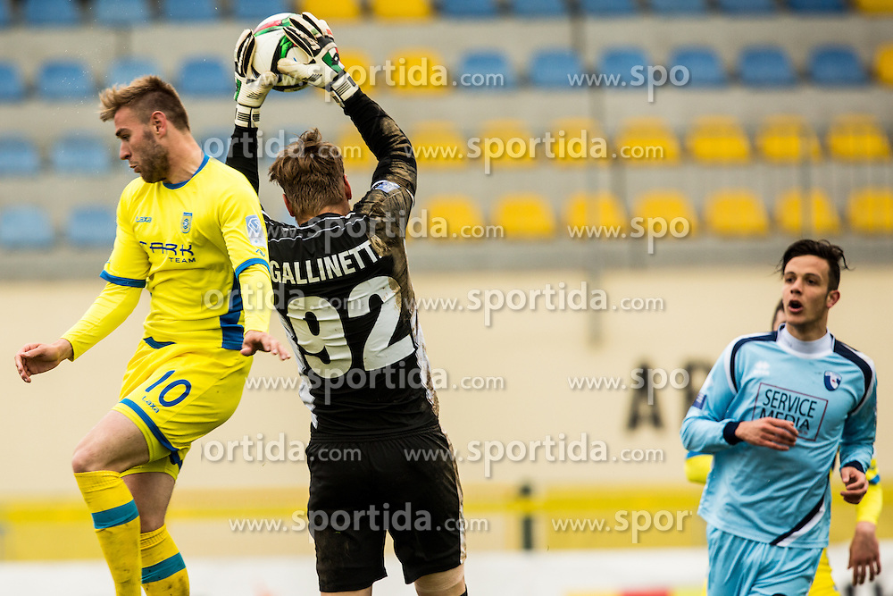 Slobodan Vuk of NK Domzale and Alberto Gallinetta ND Gorica during football match between NK Domzale and ND Gorica in 28th Round of Prva liga Telekom Slovenije 2014/15, on April 18, 2015 in Sports park Domzale, Slovenian. . (Photo by Grega Valancic / Sportida.com)