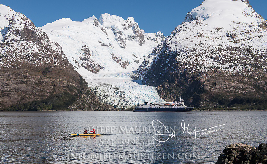 The National Geographic Explorer expedition ship visits Bernal glacier (Benito glacier) located in Alacalufes National Reserve, Southern Chilean Fjords.