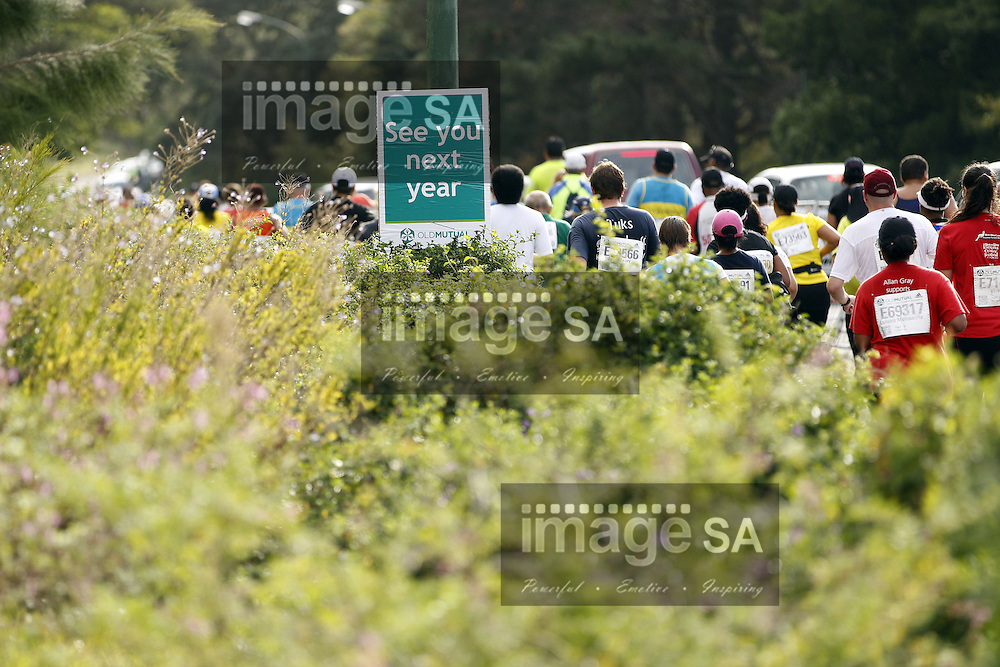 CAPE TOWN, South Africa - Saturday 30 March 2013, See you next year poster during the half marathon of the Old Mutual Two Oceans Marathon. .Photo by Nick Muzik/ ImageSA