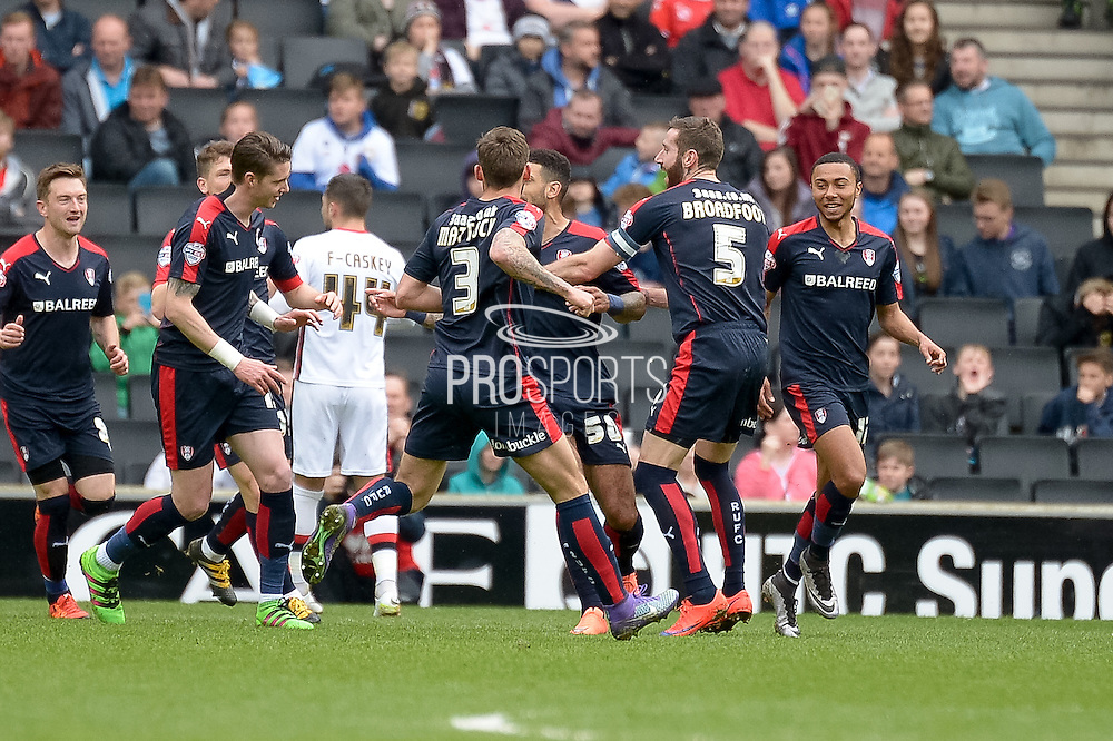 The Millers celebrate their second goal during the Sky Bet Championship match between Milton Keynes Dons and Rotherham United at stadium:mk, Milton Keynes, England on 9 April 2016. Photo by Dennis Goodwin.