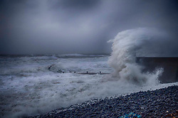 © Licensed to London News Pictures.12/02/2014. ABERAERON, Wales.as winds of over 100 mph batter the coast forcing the closure of roads, rail lines and schools around Wales. . Photo credit :Andrew Chittock/LNP