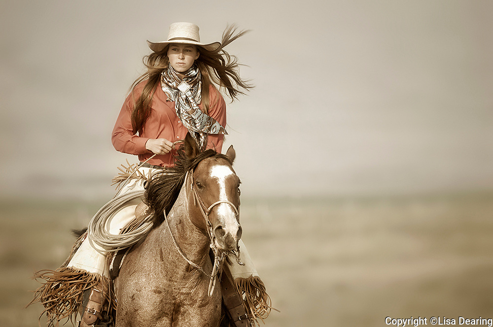 Cowgirl Riding her Horse in Idaho