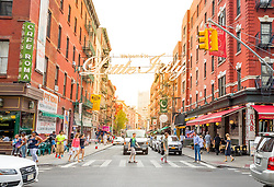 "THEMENBILD - Little Italy ist ein Stadtteil in Lower Manhattan und war bekannt fuer seinen grossen Anteil an italienischer Amerikanern. Heutzutage gibt es in diesem Stadtetil nur noch ein paar italienische Geschaefte und Restaurants, im Bild die Mulberry Street mit dem Schriftzug ""Welcome to Little Italy, Aufgenommen am 10. August 2016 // Little Italy is a neighborhood in Lower Manhattan, once known for its large population of Italian Americans. Today the neighborhood consists of only a few Italian stores and restaurants, This pictures shows Mulberry Street with the sign ""Welcome to Little Italy"", New York City, United States on 2016/08/10. EXPA Pictures © 2016, PhotoCredit: EXPA/ Sebastian Pucher"