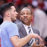 24 November 2013: Los Angeles Clippers head coach Doc Rivers talks to Los Angeles Clippers shooting guard J.J. Redick (4) during the Los Angeles Clippers 121-82 victory over the Chicago Bulls at the Staples Center, Los Angeles, California, USA.