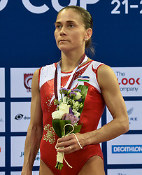 DOHA, March 24, 2018  Oksana Chusovitina of Uzbekistan looks on during the awarding ceremony for the Women's Vault final at the 11th FIG Artistic Gymnastics World Cup in Doha, Qatar, on March 23, 2018. Oksana Chusovitina claimed the title with 14.433 points.  wll) (Credit Image: © Nikku/Xinhua via ZUMA Wire)