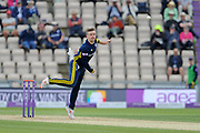 Mason Crane of Hampshire bowling during the Royal London One Day Cup semi-final match between Hampshire County Cricket Club and Lancashire County Cricket Club at the Ageas Bowl, Southampton, United Kingdom on 12 May 2019.