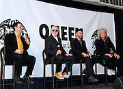 (L-R) Alan Light, Roger Taylor, Adam Lambert and Brian May appear to announce summer North American tour dates at Madison Square Garden in New York City, New York on March 06, 2014.