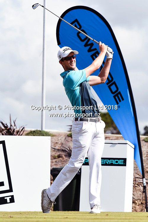 Harry Bateman (NZL) tees off on the 1st hole.<br /> NZ Rebel Sports Masters, Wainui Golf Club, Wainui, Auckland, New Zealand. 14 January 2018. &copy; Copyright Image: Marc Shannon / www.photosport.nz.
