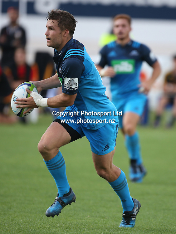 Blues player Michael Collins in action during the Blues vs Chiefs pre season Super Rugby match played at Alexandra Park in Auckland on the 17th February 2017. <br /> Credit; Peter Meecham/ www.photosport.nz
