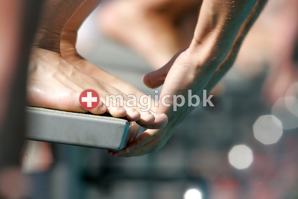 Swimmers are ready on the starting block to compete in the men's 200m breaststroke heats at the Swiss Swimming Summer Championships in Tenero, Switzerland, Sunday, July 5, 2009. (Photo by Patrick B. Kraemer / MAGICPBK)