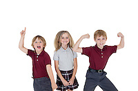 Portrait of cheerful school children over white background