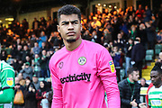 Forest Green Rovers goalkeeper Robert Sanchez(1) during the EFL Sky Bet League 2 match between Yeovil Town and Forest Green Rovers at Huish Park, Yeovil, England on 8 December 2018.