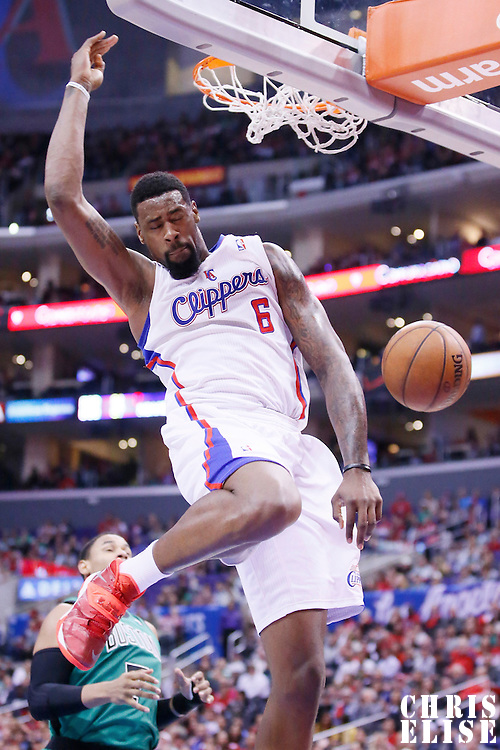 08 January 2014: Los Angeles Clippers center DeAndre Jordan (6) dunks the ball during the Los Angeles Clippers 111-105 victory over the Boston Celtics at the Staples Center, Los Angeles, California, USA.