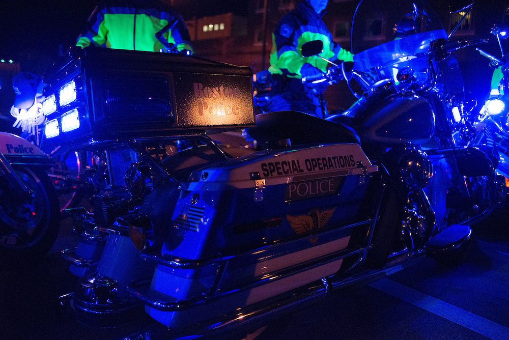 11/25/14 – Medford/Somerville, MA – Boston Police use their motorcycles to form a barricade on I-93 during the Indict America rally in Boston on November 25th, 2014. (Nicholas Pfosi / The Tufts Daily)