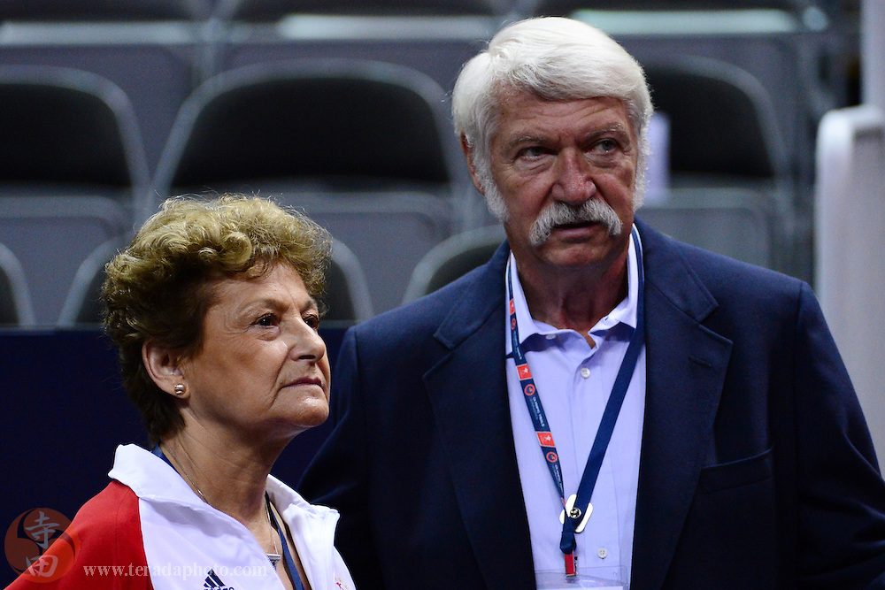 June 29, 2012; San Jose, CA, USA; National team coordinator Martha Karolyi (left) and Bela Karolyi (right) watch warm ups during the 2012 USA Gymnastics Olympic Team Trials at HP Pavilion.