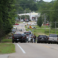 Several area law enforcement agencies found themselves gathered along Hwy 363 just east of downtwon Saltillo on Tuesday following shooting in Mantachie and ended with a pursuit through two counties.