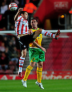 Southampton - Tuesday, September 30th, 2008: Jack Cork  of Southampton and Jonathan Grounds <br /> of Norwich City during the Coca Cola Championship match at Southampton. (Pic by Daniel Hambury/Focus Images)