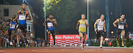 (L) ASAFA POWELL (JAMAICA) COMPETES IN THE 100 METERS RUN. POWELL WON AND GOT RESULT 9.89 DURING ATHLETICS MEETING PEDRO'S CUP IN SZCZECIN, POLAND..SZCZECIN , POLAND , SEPTEMBER 17, 2008..( PHOTO BY ADAM NURKIEWICZ / MEDIASPORT )..PICTURE ALSO AVAIBLE IN RAW OR TIFF FORMAT ON SPECIAL REQUEST.