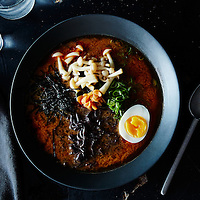 black ramen asian soup