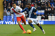 Charlton Athletic midfielder Jordan Cousins tracks Birmingham City midfielder Jacques Maghoma during the Sky Bet Championship match between Birmingham City and Charlton Athletic at St Andrews, Birmingham, England on 21 November 2015. Photo by Alan Franklin.